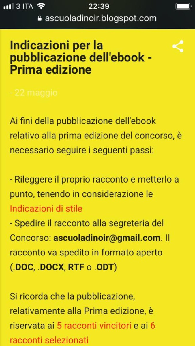 Avviso  : modalità per la pubblicazione dell'e-book relativo al concorso a